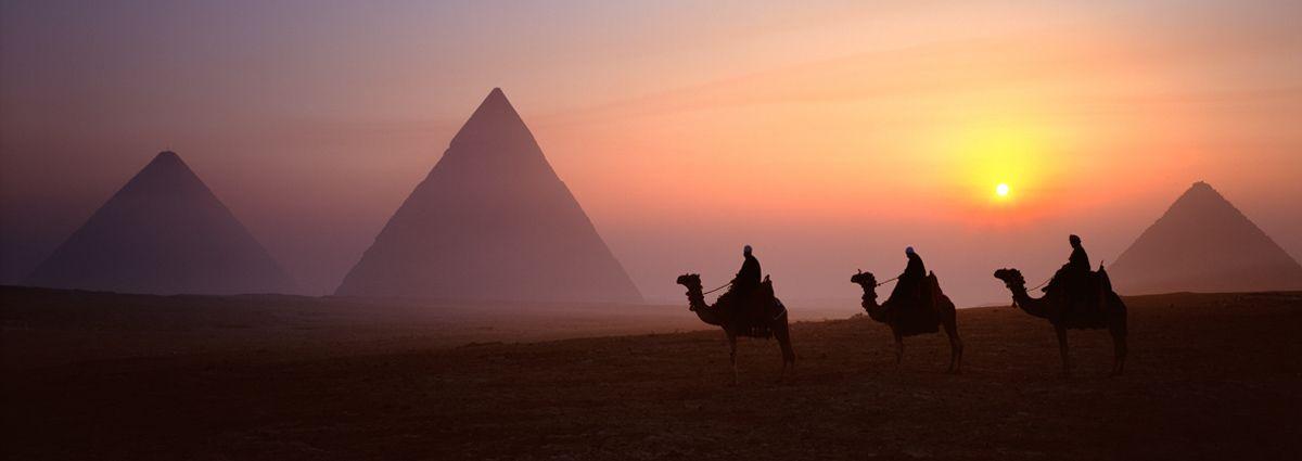 image of giza pyramids at sunset in cairo